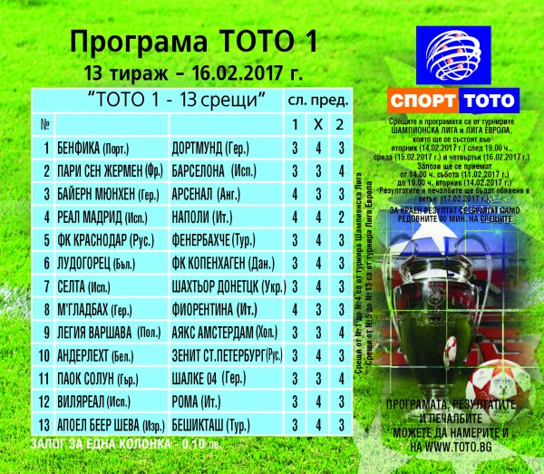 Футболни срещи от Шампионска лига и Лига Европа в тираж №13 на Тото 1