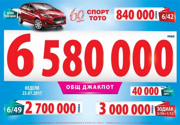 6 580 000 лева се очаква да бъдат джакпотите в Тото 2 тази неделя