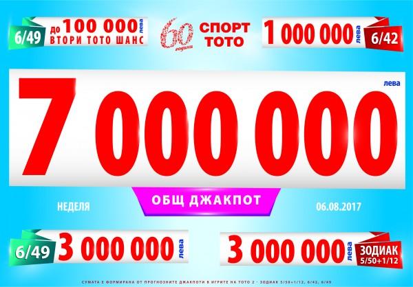 7 000 000 лева ще достигнат джакпотите в Тото 2 в неделя