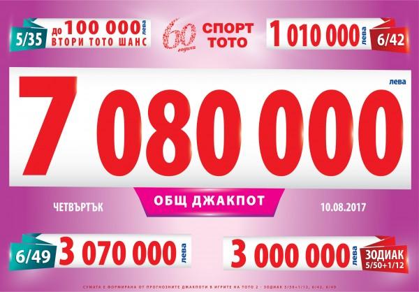 Джакпотите в Тото 2 ще нараснат до 7 080 000 лева в четвъртък