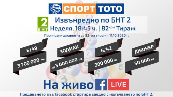 ТОТО Live | Тираж 82 | 11.10.2020 г. по БНТ 2 и facebook